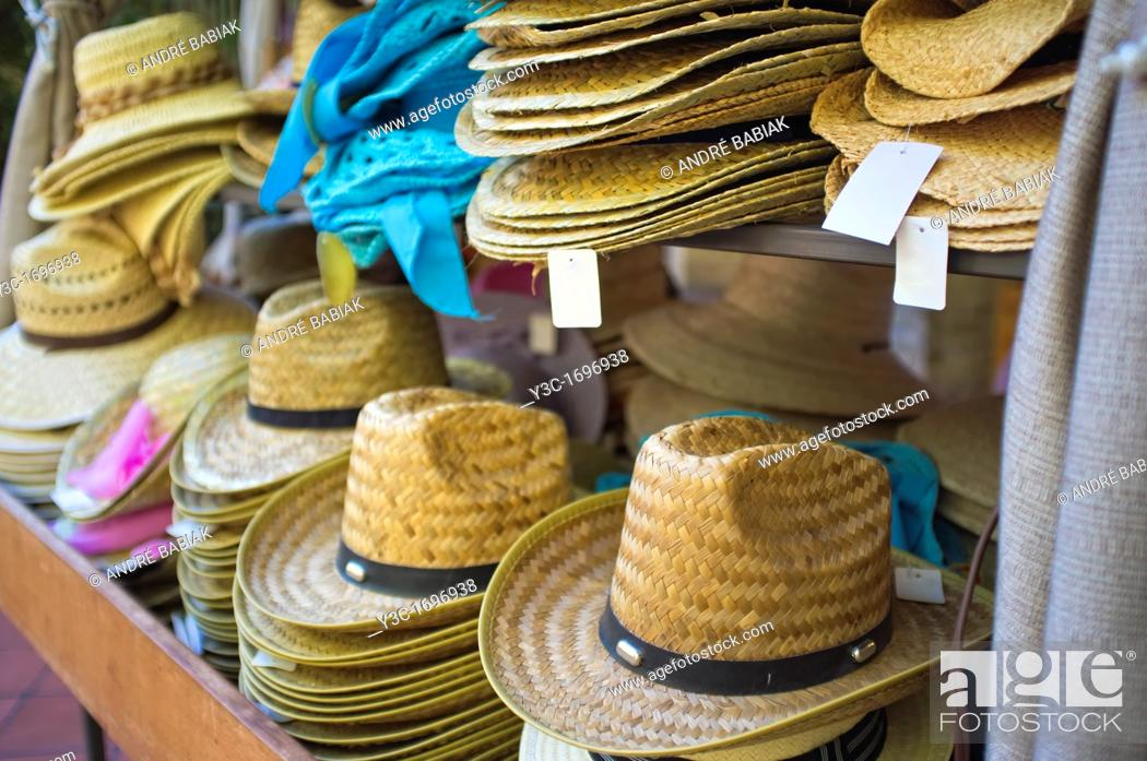 Stock Photo: Hats on sales display in a hat store.