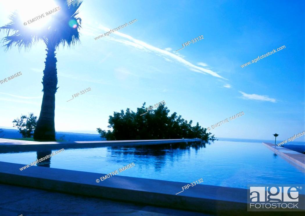 Stock Photo: Swimmingpool in the evening sun.