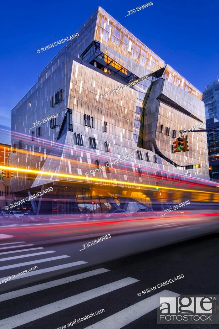 Stock Photo: The Cooper Union NYC - Exterior view to Cooper Union College during the blue hour. In contrast to the original building, 41 Cooper Square is of a modern.