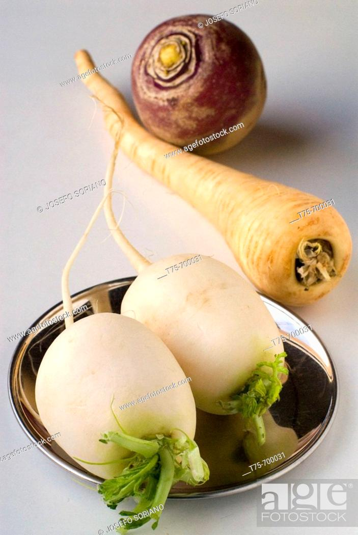 Stock Photo: Turnips and parsnip.