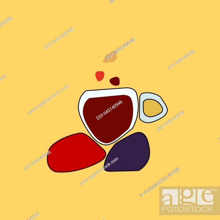 Stock Vector: cup of coffee on hot rocks.