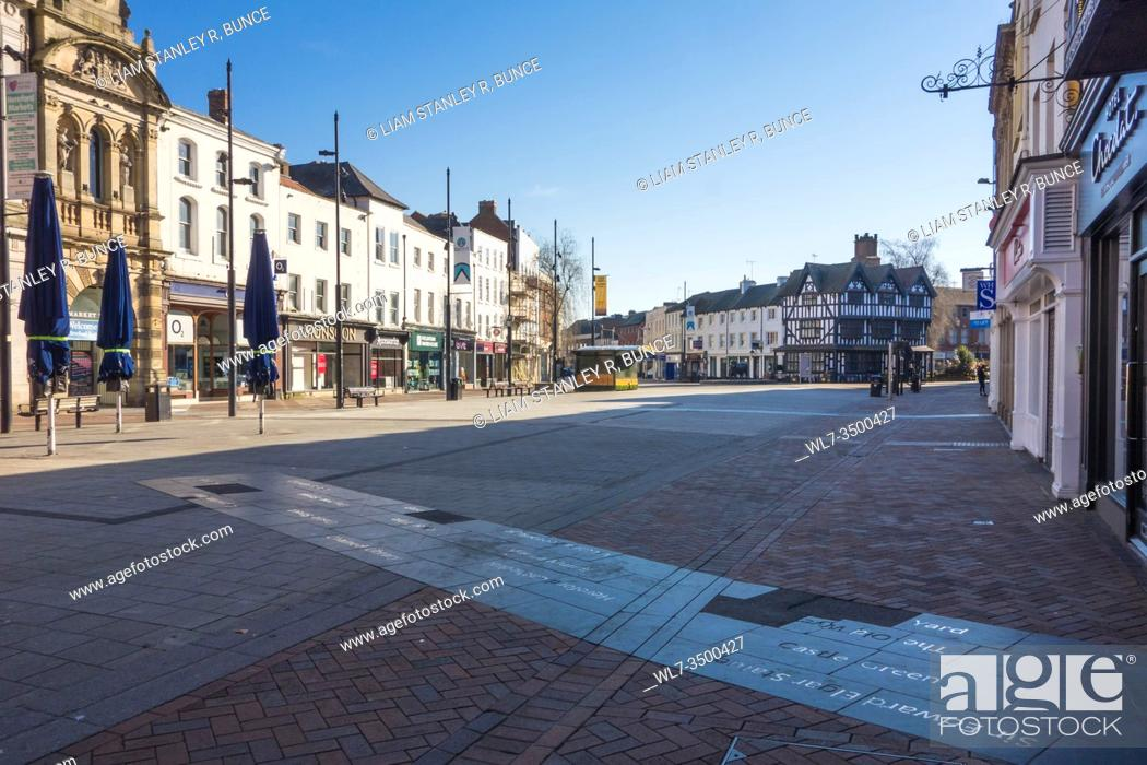 Stock Photo: Deserted streets a result of the Covid-19 epidemic, Hereford UK. March 2020.