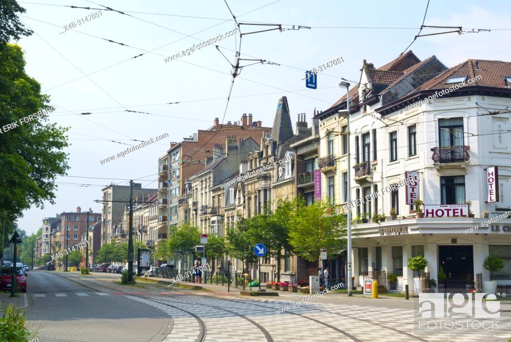 Stock Photo: Avenue Jean Sobieski, at Place Saint Lambert, Laeken, Brussels, Belgium.