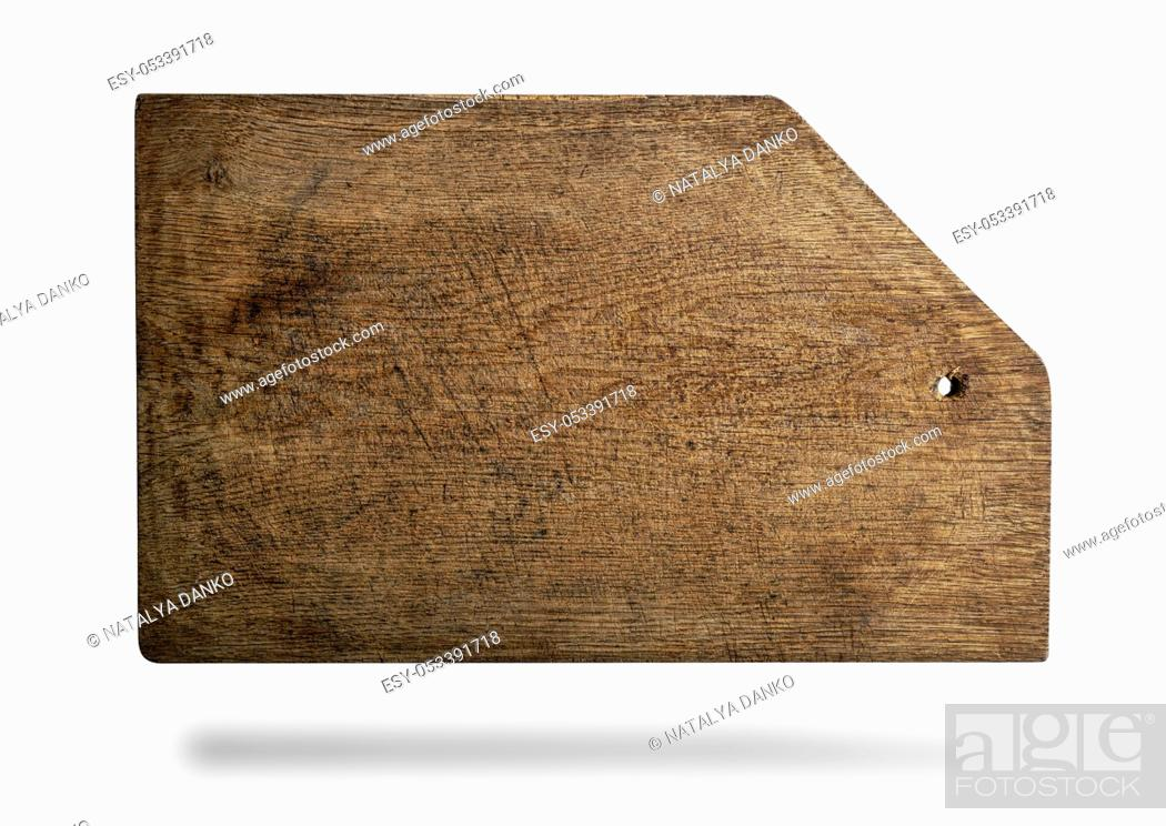 Stock Photo: rectangular brown old cutting board with bevelled corner isolated on white background.