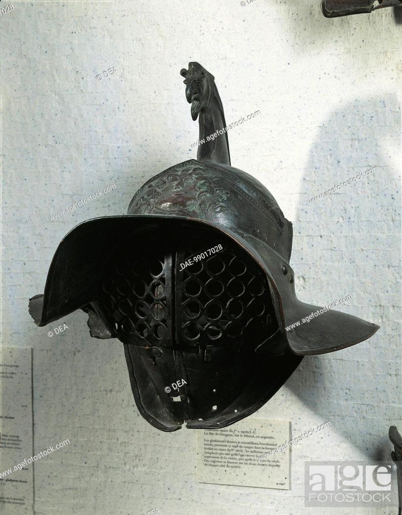 Stock Photo: Roman civilization, 1st century A.D. Bronze gladiator's helmet.  Paris, Musée Du Louvre.