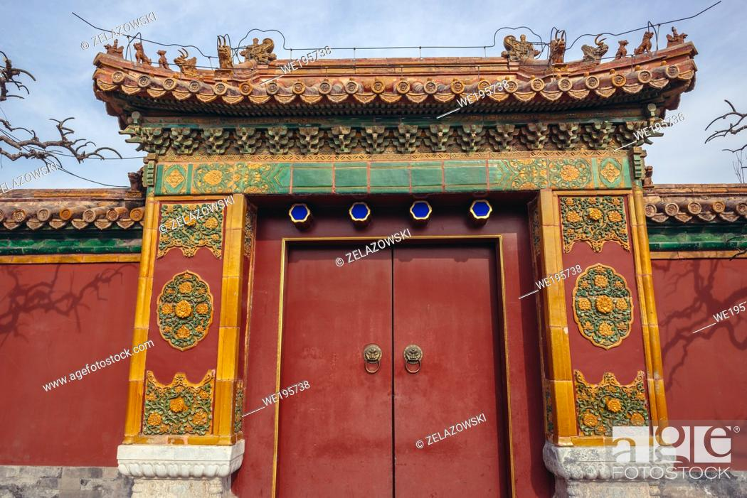 Stock Photo: Red door with knocker in Jingshan Park in Beijing, China.