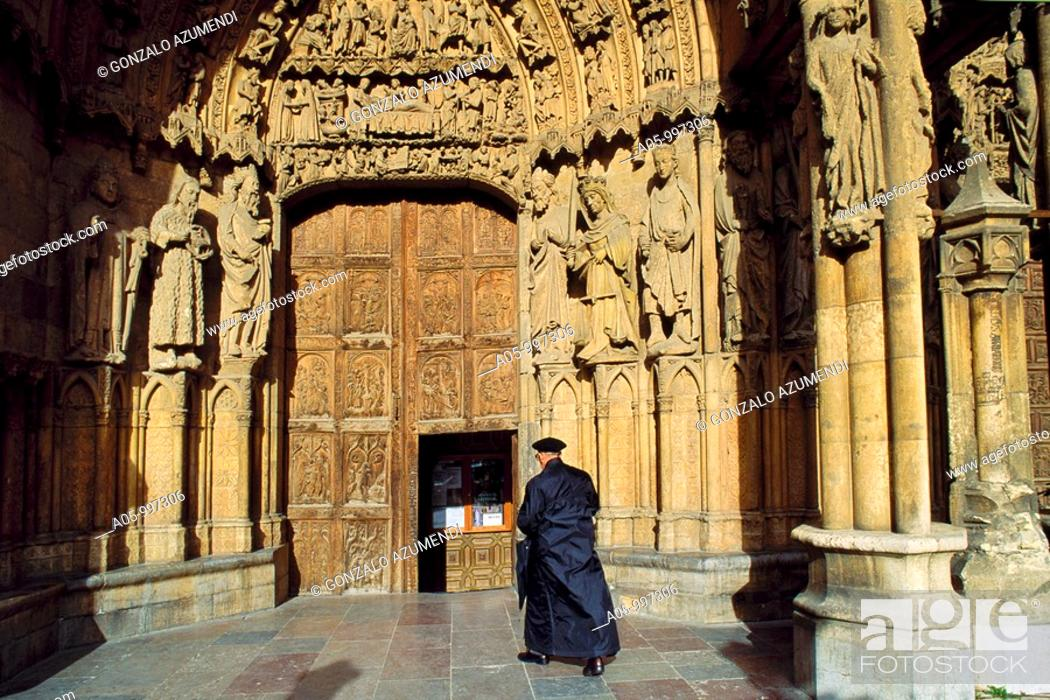 Stock Photo: Leon Cathedral. Tierra de Campos. Way of St. James. Leon- Province. Castilla- Leon. Spain.