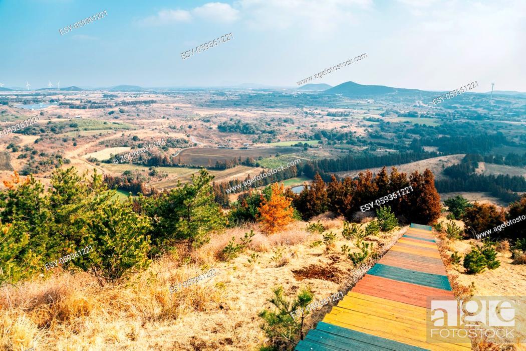 Stock Photo: Oreum volcanic cone and autumn nature landscape from Yeongju Mountain in Jeju Island, Korea.