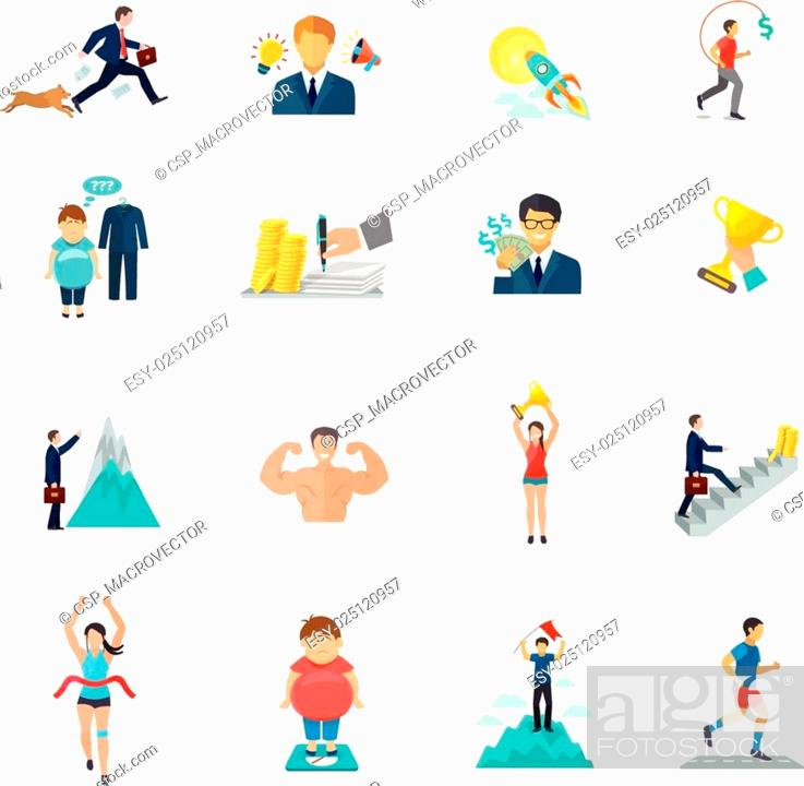 Stock Vector: Motivation Icons Flat.
