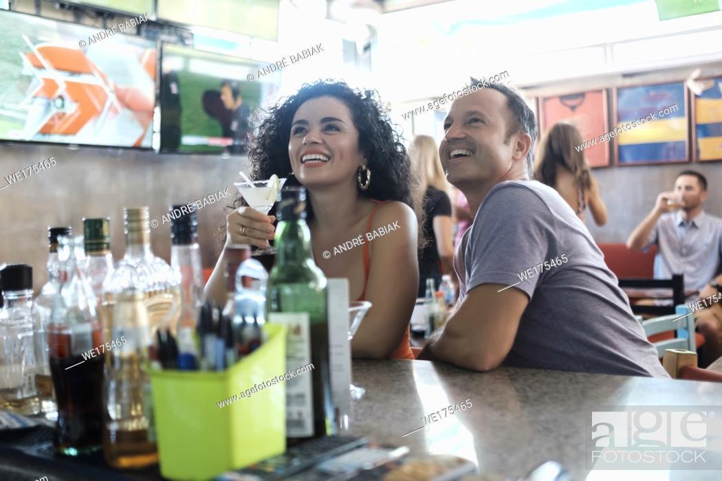 Stock Photo: Sports Bar Scene with multiple people, lifestyle. Bucerias, Nayarit, Mexico.
