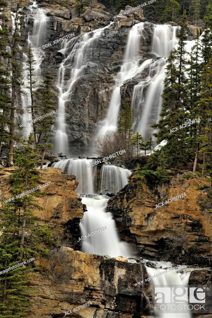 Stock Photo: Tangle Creek waterfall, Jasper, Alberta, Canada.