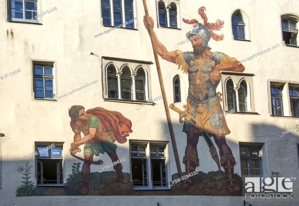 Stock Photo: Goliathhaus (1260) with its 16th c. fresco, Regensburg, Bavaria, Germany.