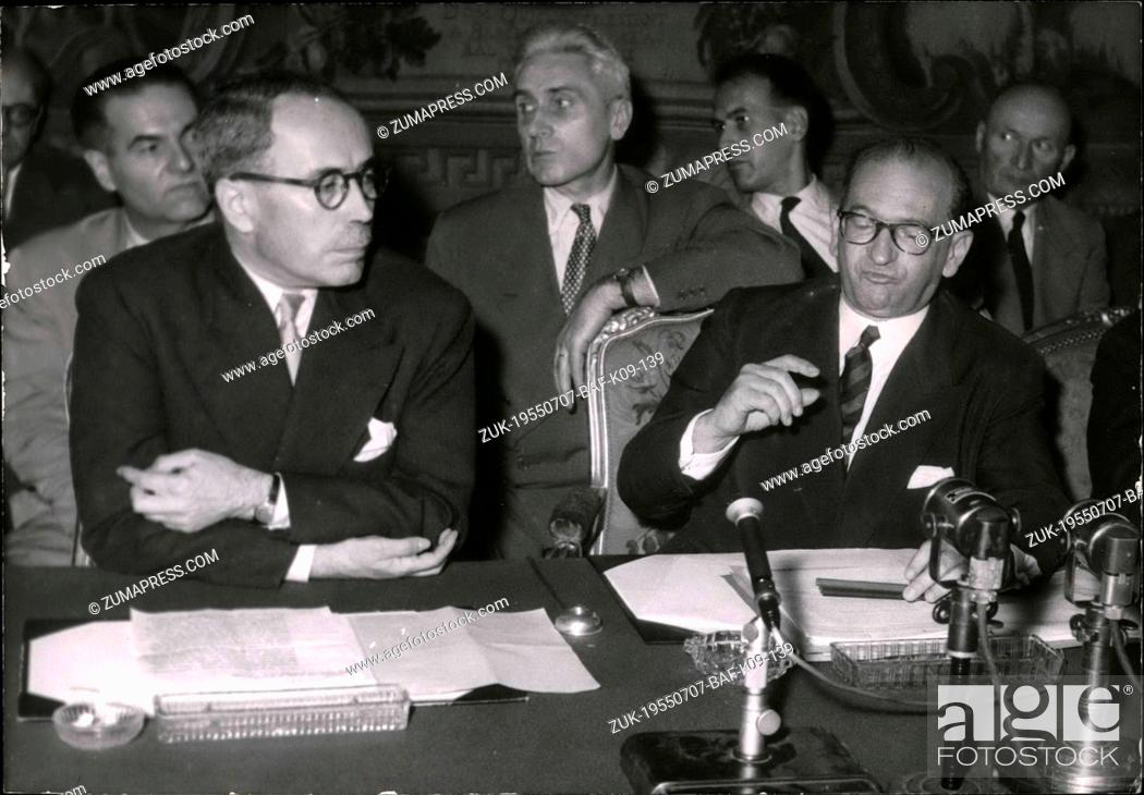 Imagen: Jul. 07, 1955 - Before Geneva conference : An Important Press conference by E.Faure before leaving for Geneva Mr.Edgar Faure gave an important conference at the.