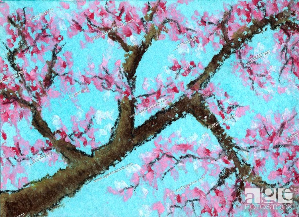 Stock Photo: 'Tree, untitled' 2 5 x 3 5 inch, oil pastel on paper.
