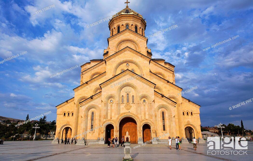 Stock Photo: Georgia - Tbilisi - Tsminda Sameba Cathedral.