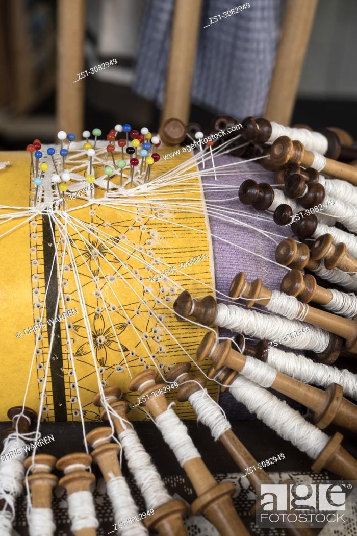 Stock Photo: Lace making bobbins Le Puy en Velay Haute-Loire Auvergne-Rhône-Alpes France.
