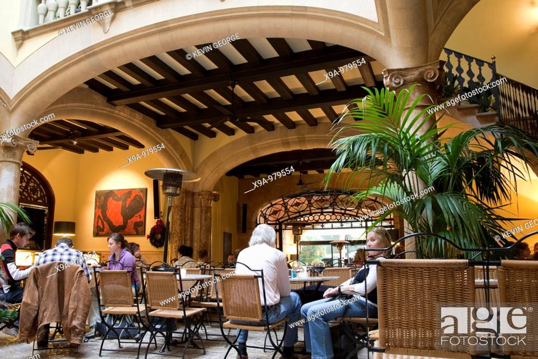 Stock Photo: Cappuccino Cafe and Bar, Sant Miguel Street, Palma de Mallorca, Spain.