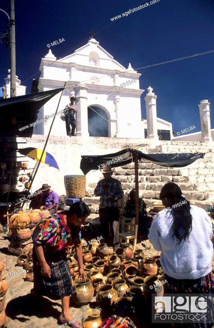 Stock Photo: Market in Santo Tomas Church  Chichicastenango  Guatemala.