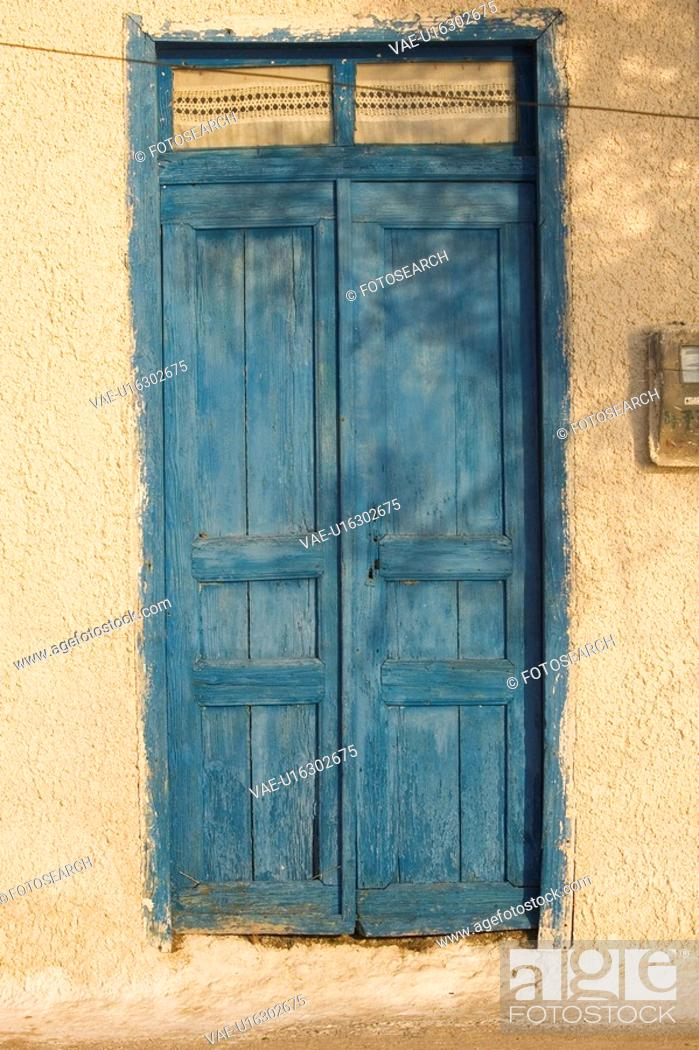 Stock Photo: Blue, Building Structure, Closed, Day, Door.