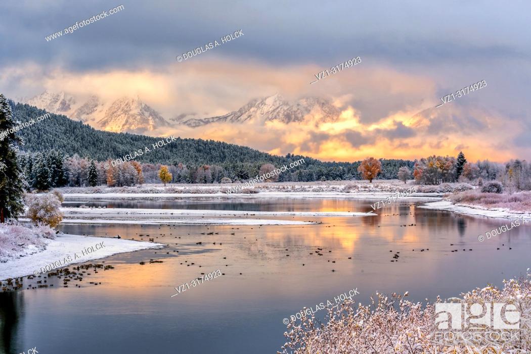 Stock Photo: Mount Moran Fall Sunrise following a Snowstorm.