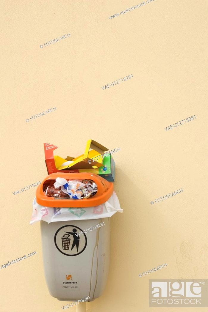 Stock Photo: Close-Up, Fixed, Garbage, Garbage Bin.