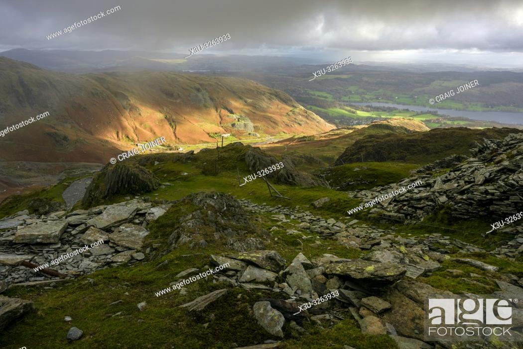 Stock Photo: Saddlestone Quarry on the flank of The Old Man of Coniston with the Coppermines Valley beyond in the Lake District National Park, Cumbria, England.