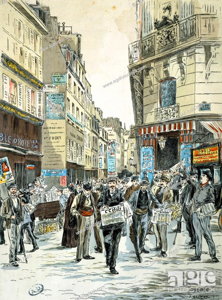 Newspaper sales in Rue du Croissants on the corner of Faubourg ...