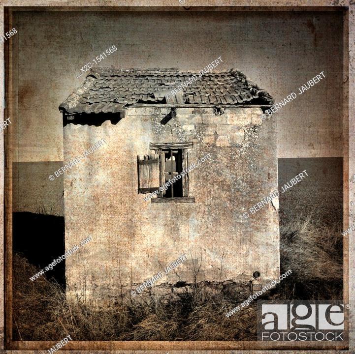 Stock Photo: Derelict hut, textured.