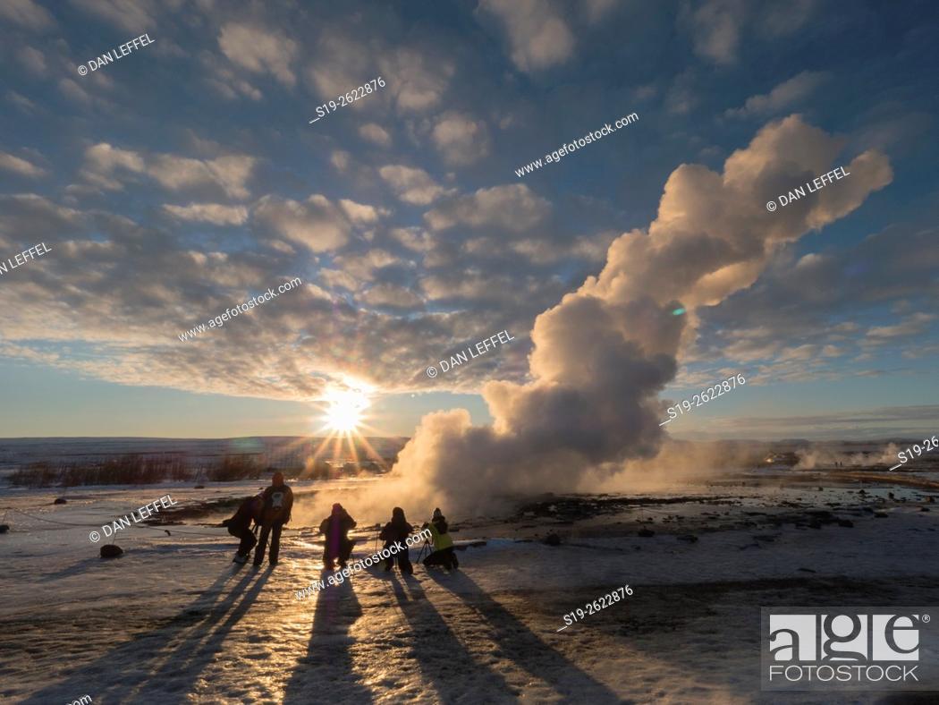 Stock Photo: Iceland Geysir Eruption.