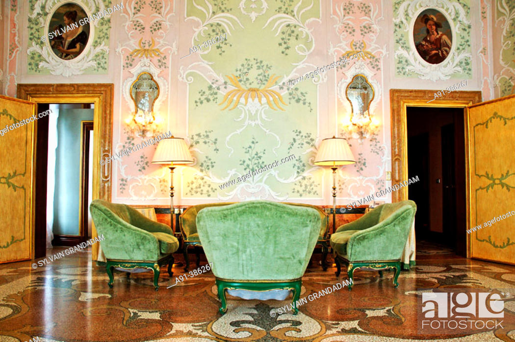 Stock Photo: Grand Hotel Bauer (5*). View of a room inside the ancient palazetto on Grand Canal. City of Venice. Venetia. Italy.