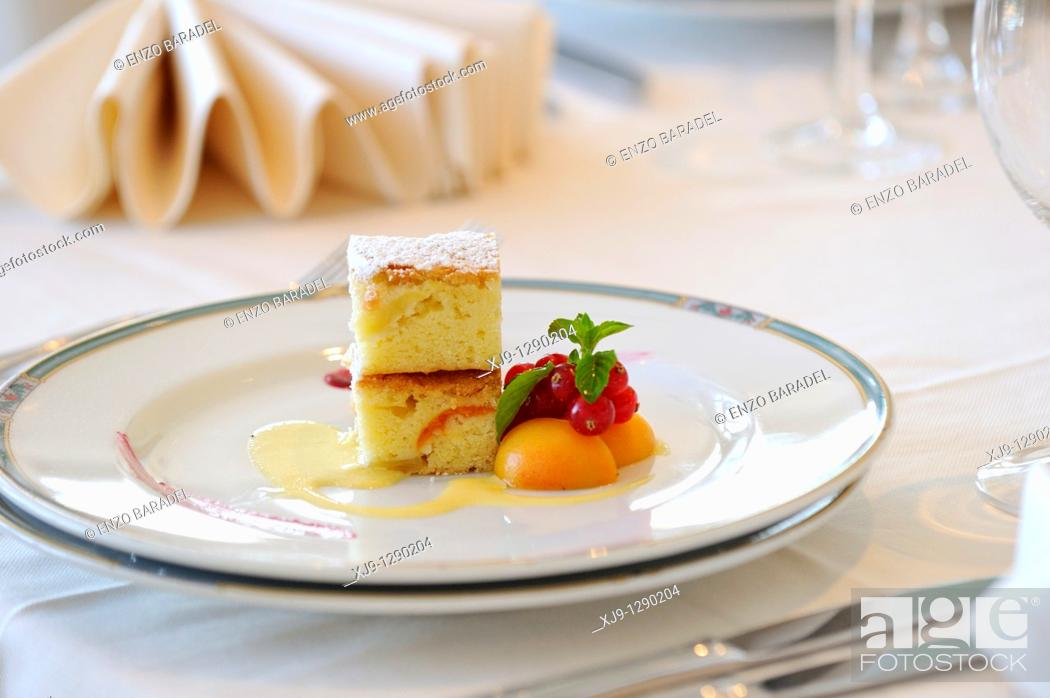 Stock Photo: Hotel restaurant in Venice, cream cake with apricot and currant.