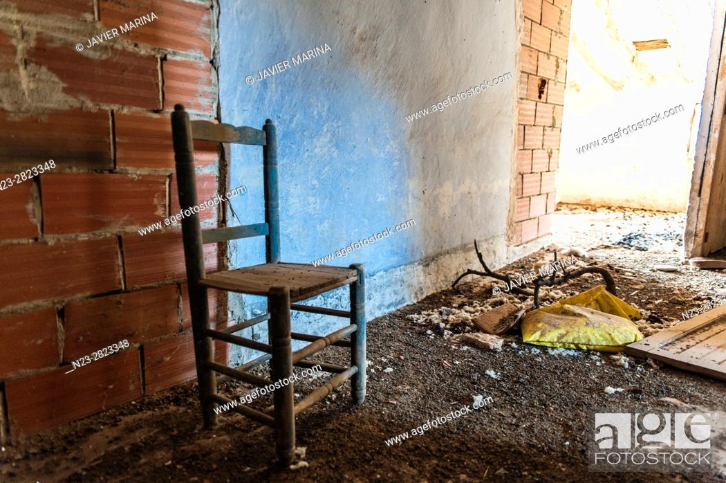 Stock Photo: Abandoned village of Vizcota, Alpuente, Valencia, Spain.