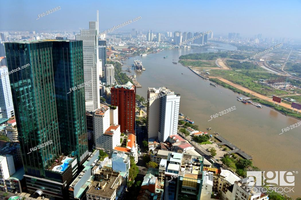 Stock Photo: Aerial view of Ho Chi Minh City from the top of Bitexco Financial Tower, Vietnam.