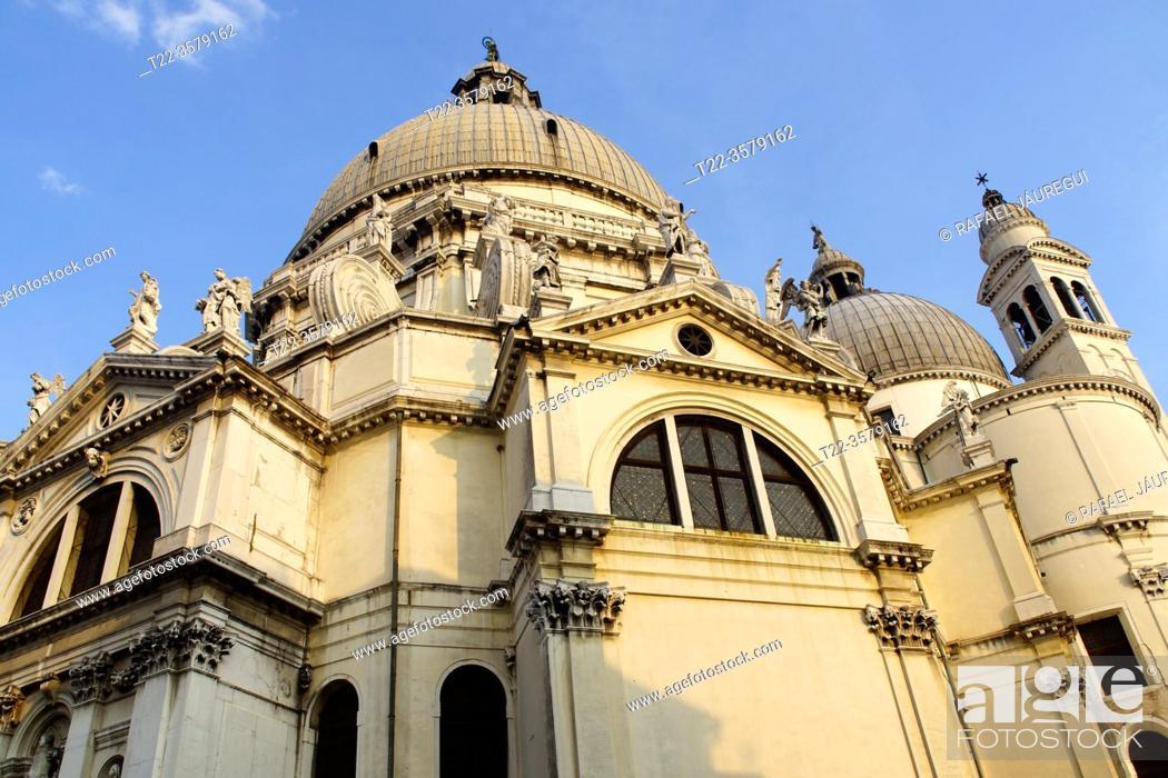 Stock Photo: Venice (Italy). Basilica of Santa Maria della Salute (Saint Mary of Health) at Punta della Dogana in Venice.
