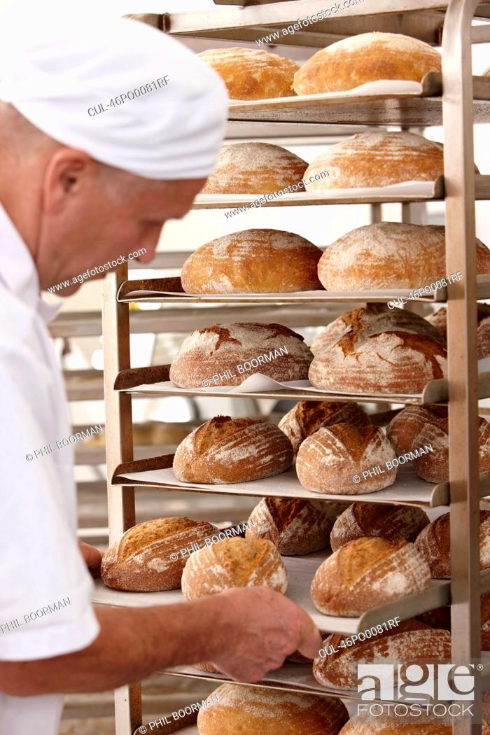 Stock Photo: Chef putting tray of bread on rack.