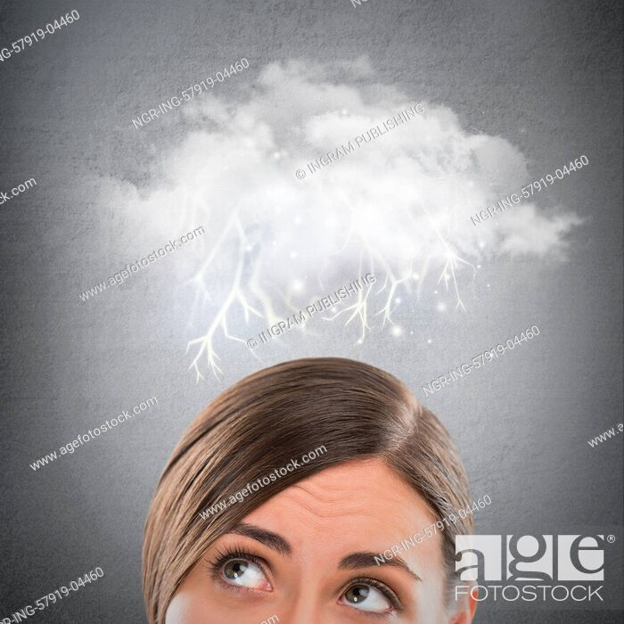 Stock Photo: Close up of young woman looking up for thought bubble above her head with copy space.