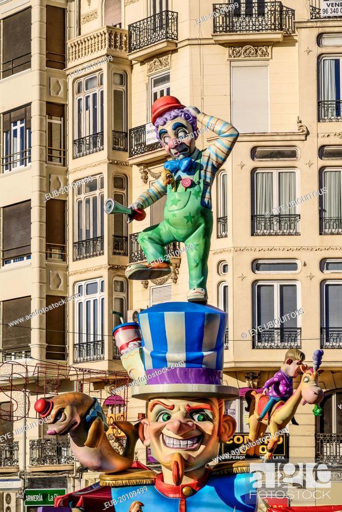 Stock Photo: Papier Mache figure in the street during Las Fallas festival.