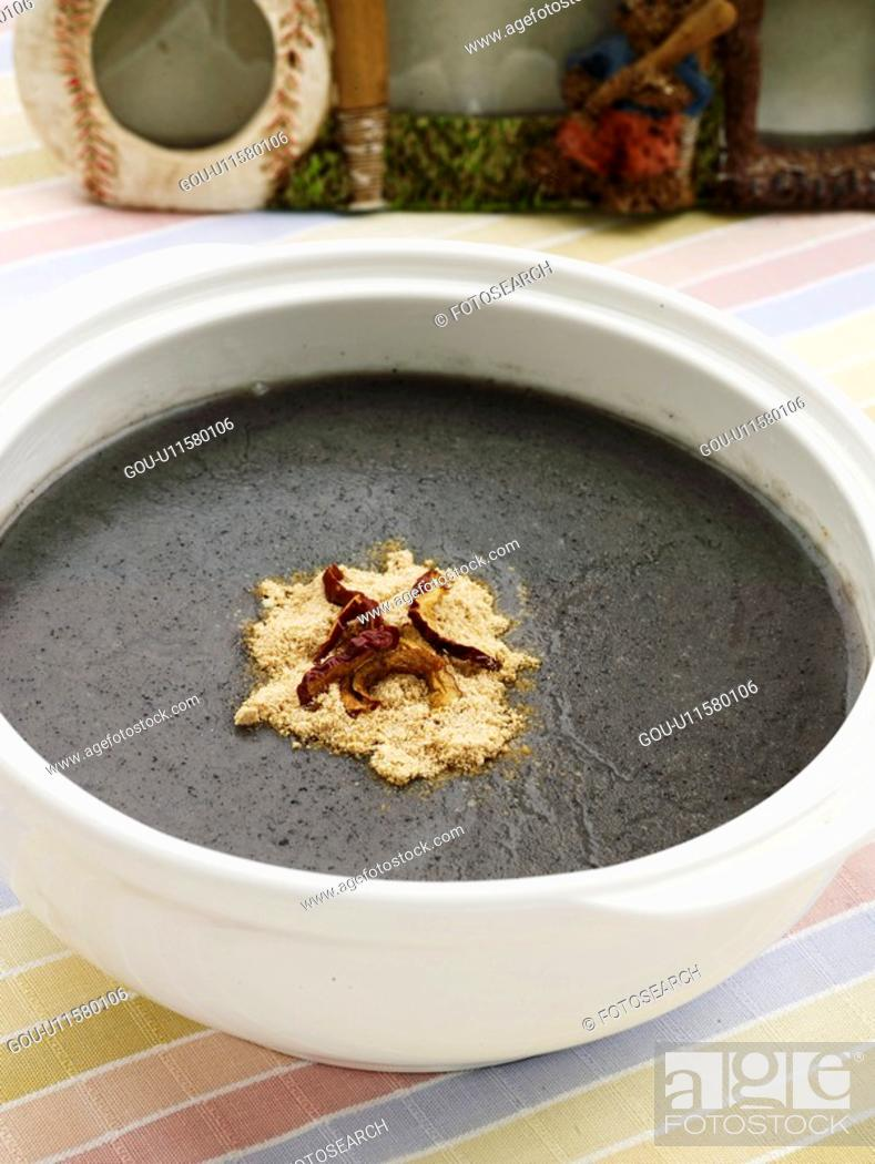 Stock Photo: food, vase, decoration, vassel, flower, cuisine, black sesame gruel.