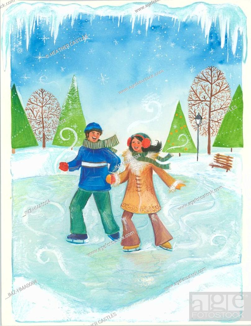 Stock Photo: couple ice skating.