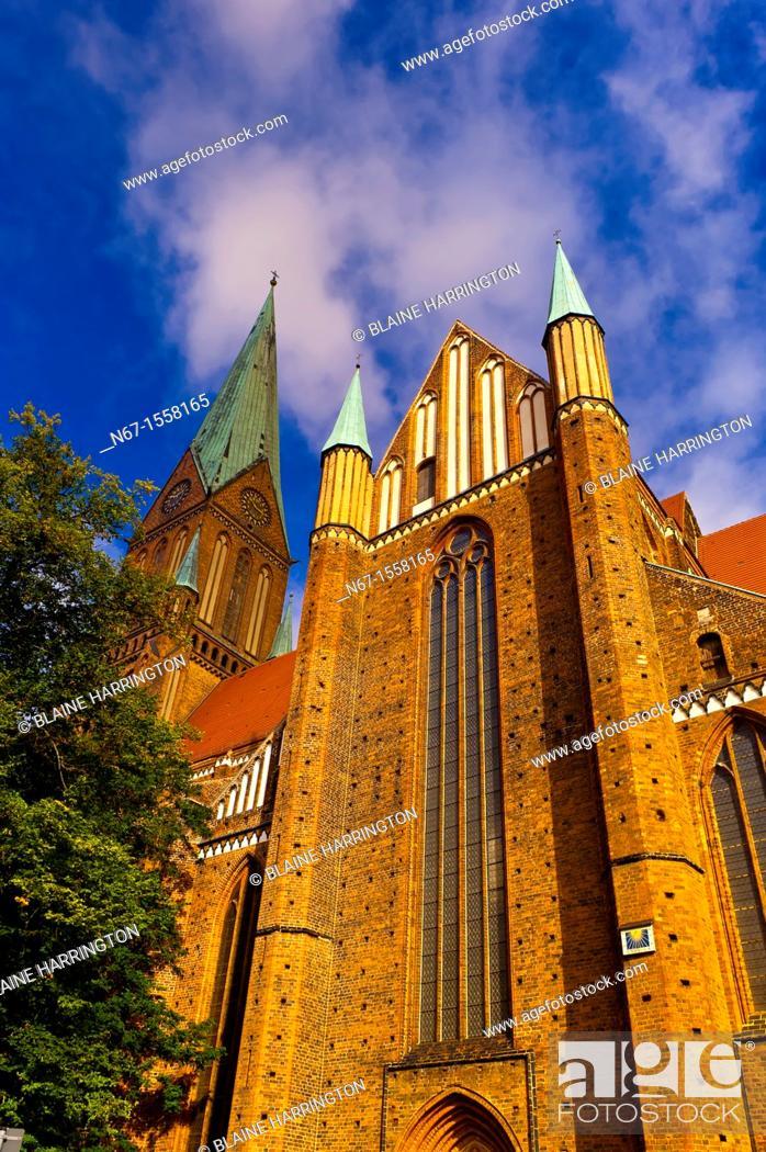 Stock Photo: Cathedral Dom, Schwerin, Mecklenburg-West Pomerania, Germany.