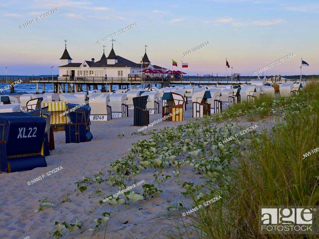 Stock Photo: Pier in Ahlbeck, Usedom, Mecklenburg Western Pomerania, Germany.