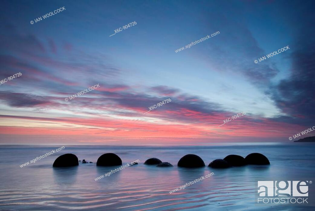 Stock Photo: Moeraki Boulders at Dawn South Island New Zealand.