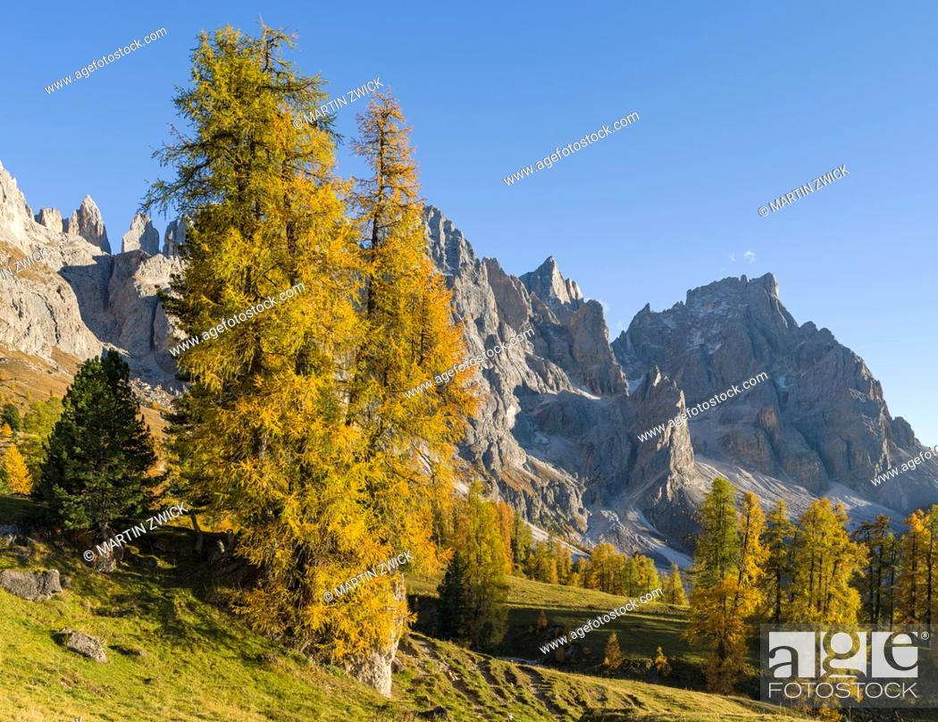 Stock Photo: Peaks towering over Val Venegia. Pala mountain range (Pale di San Martino) in the dolomites of Trentino. Pala is part of the UNESCO world heritage Dolomites.