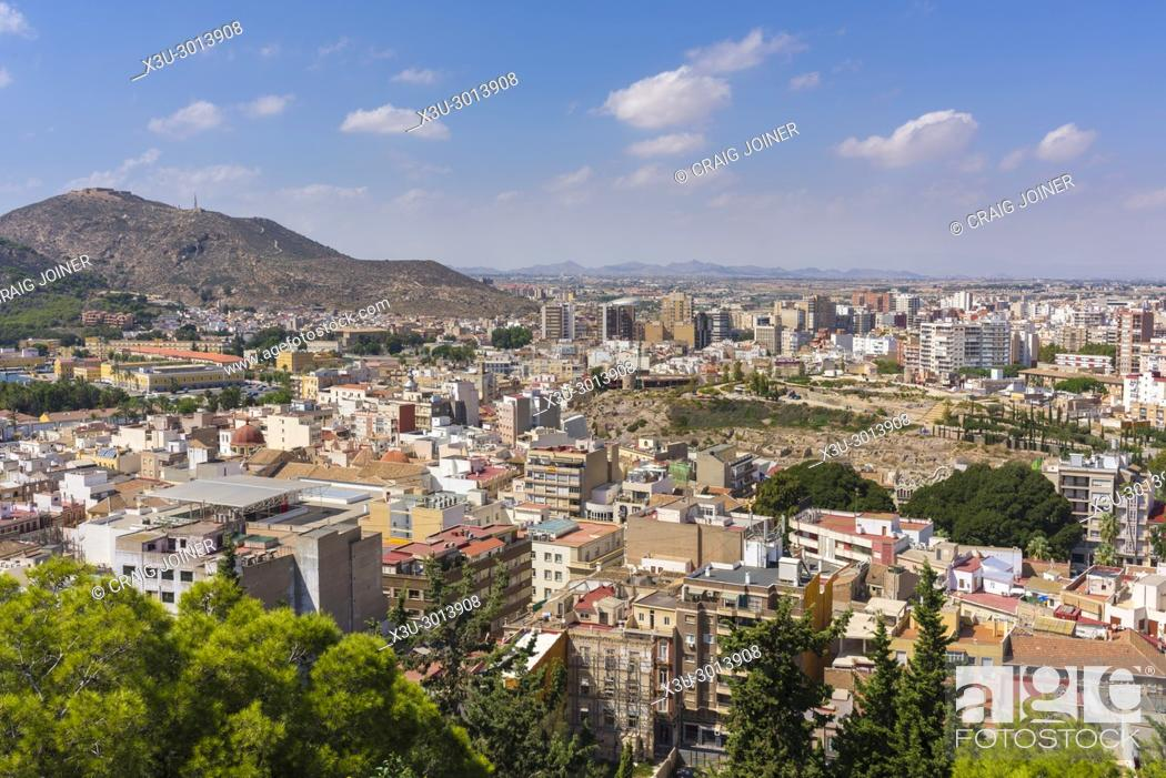 Stock Photo: View over the city of Cartagena from the Castle of the Conception, Spain.