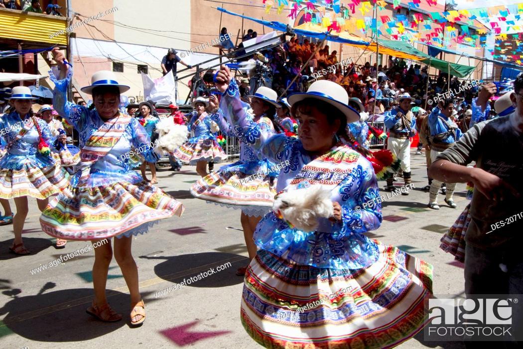 Stock Photo: Llamerada Dancers In The Procession Of The Carnaval De Oruro, Oruro, Bolivia.