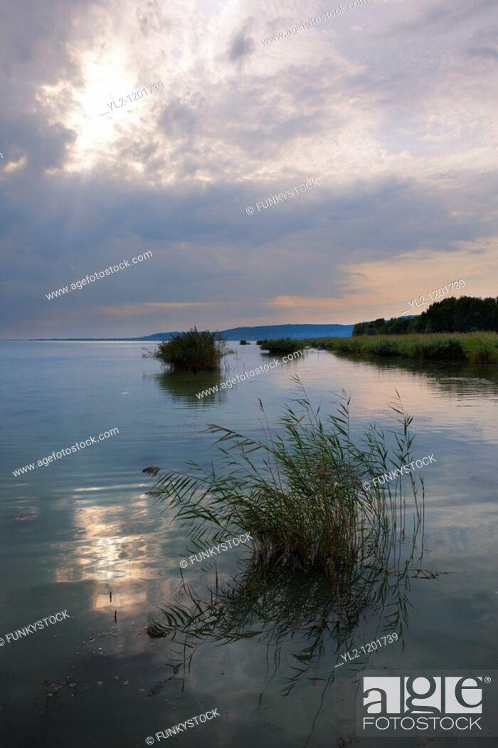 Stock Photo: Lake Balaton from Szigliget marina at sunset - Hungary.