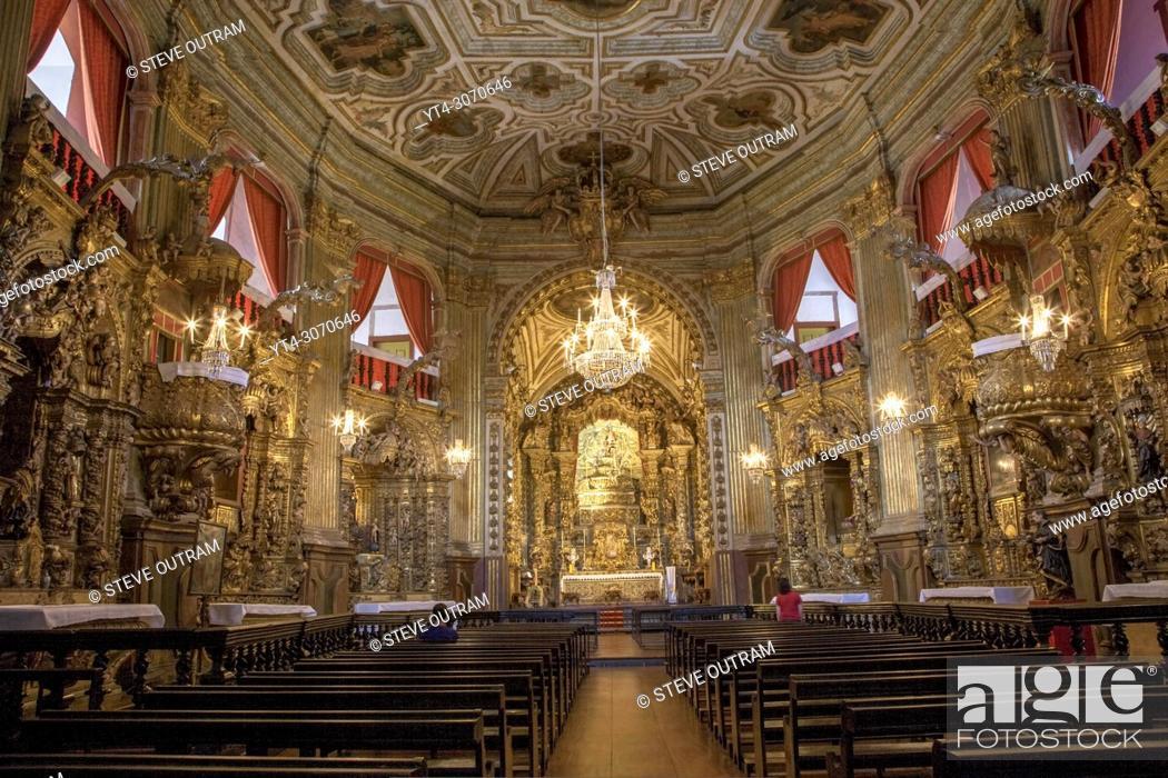Stock Photo: Brazil. Ouro Preto village. Ornate interior of The Church of Igresa de Nossa Senhora do Pilar. Unesco World Heritage Site.