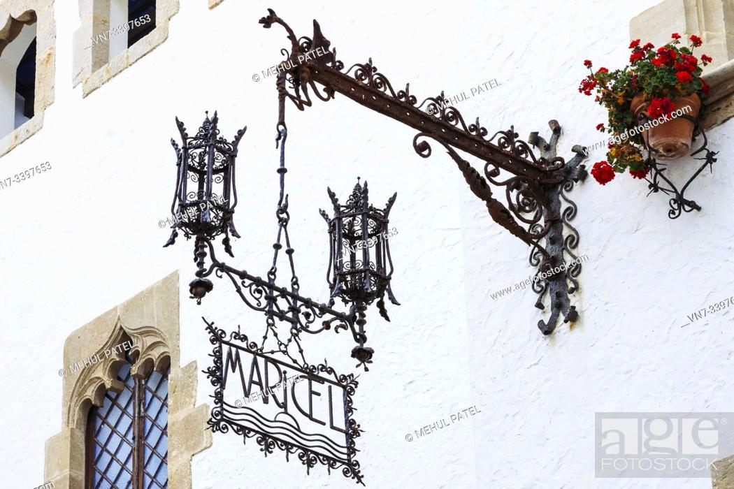 Stock Photo: Close up of exterior iron sign for the Palau de Maricel, Maricel Palace, Sitges, Catalonia, Spain, Europe. Palau de Maricel is one of the most important.