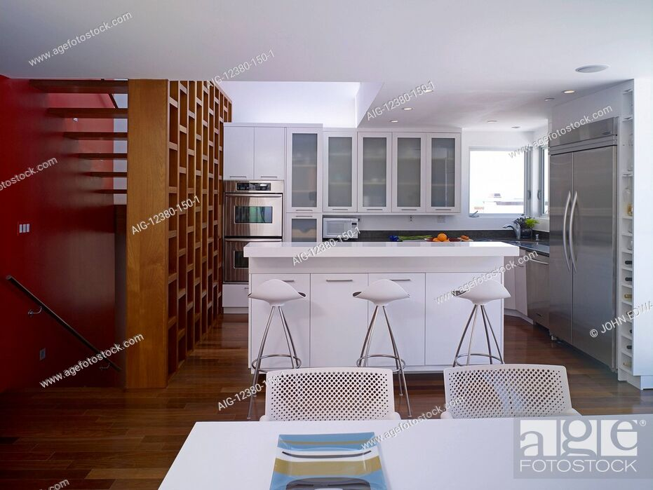 Stock Photo: Modern open plan kitchen and dining area.