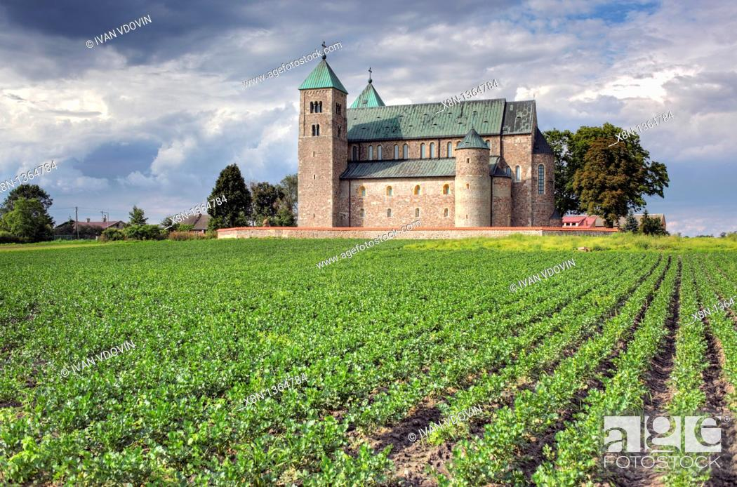 Stock Photo: Romanesque collegiate church 1160s, Tum, Lodz Voivodeship, Poland.